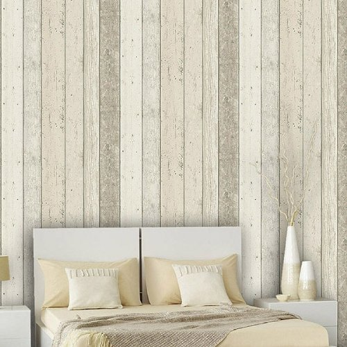 Reclaimed Wood Panel Effect Faux Wallpaper Beige Sample At 500x500