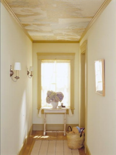 antique map on the ceiling in this hallway via Martha Stewart 400x534