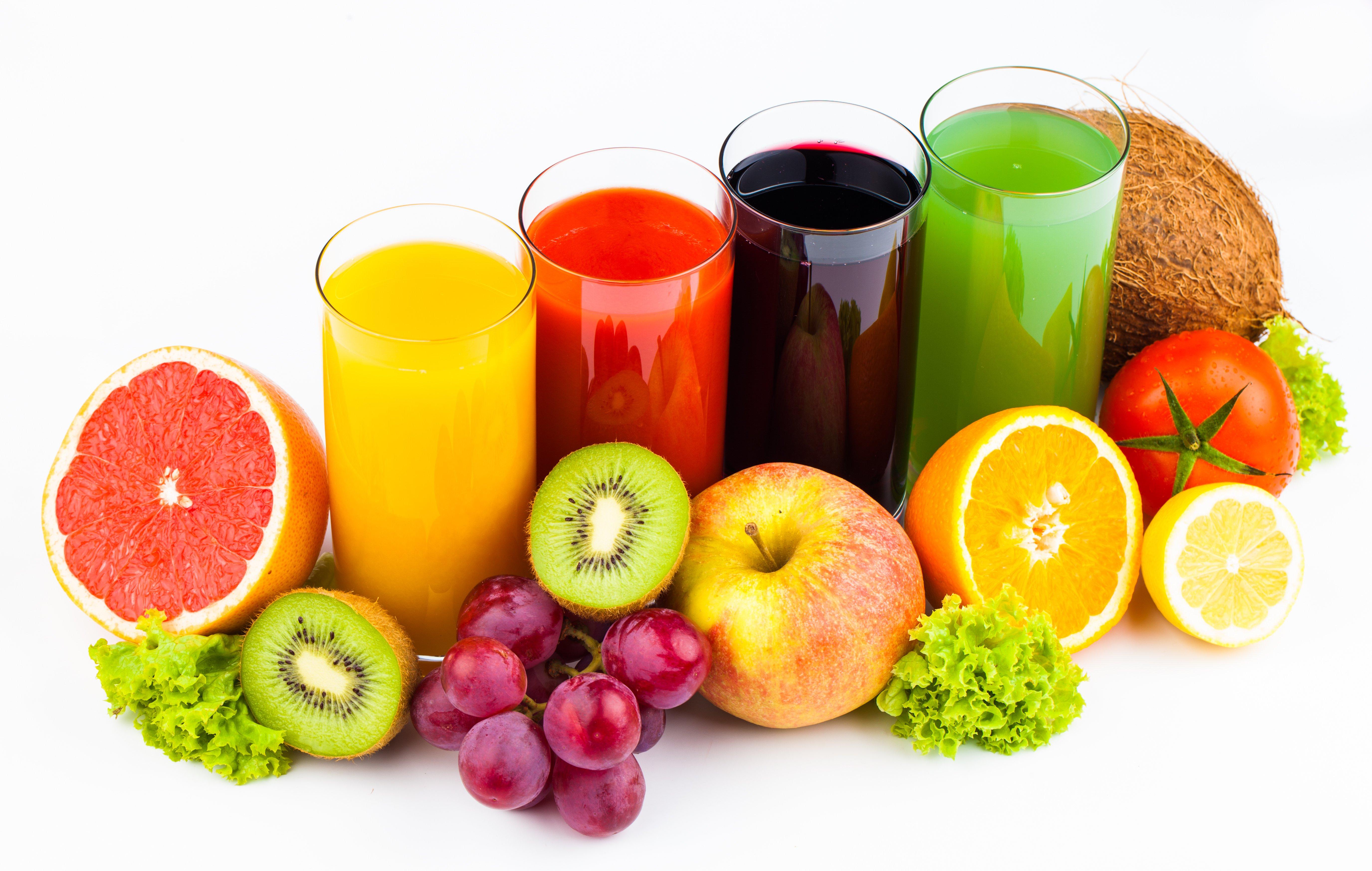 Juice Fruit Orange fruit Kiwi Apples Grapes Highball glass wallpaper 5501x3495