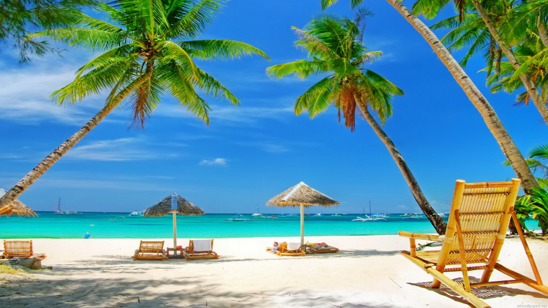 Beach Scene Wallpaper Full Desktop Backgrounds 1920x1080