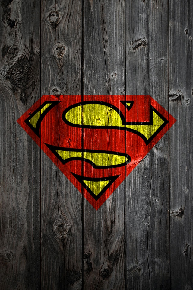 Superman Logo on Wood iPhone HD Wallpaper iPhone HD Wallpaper 640x960