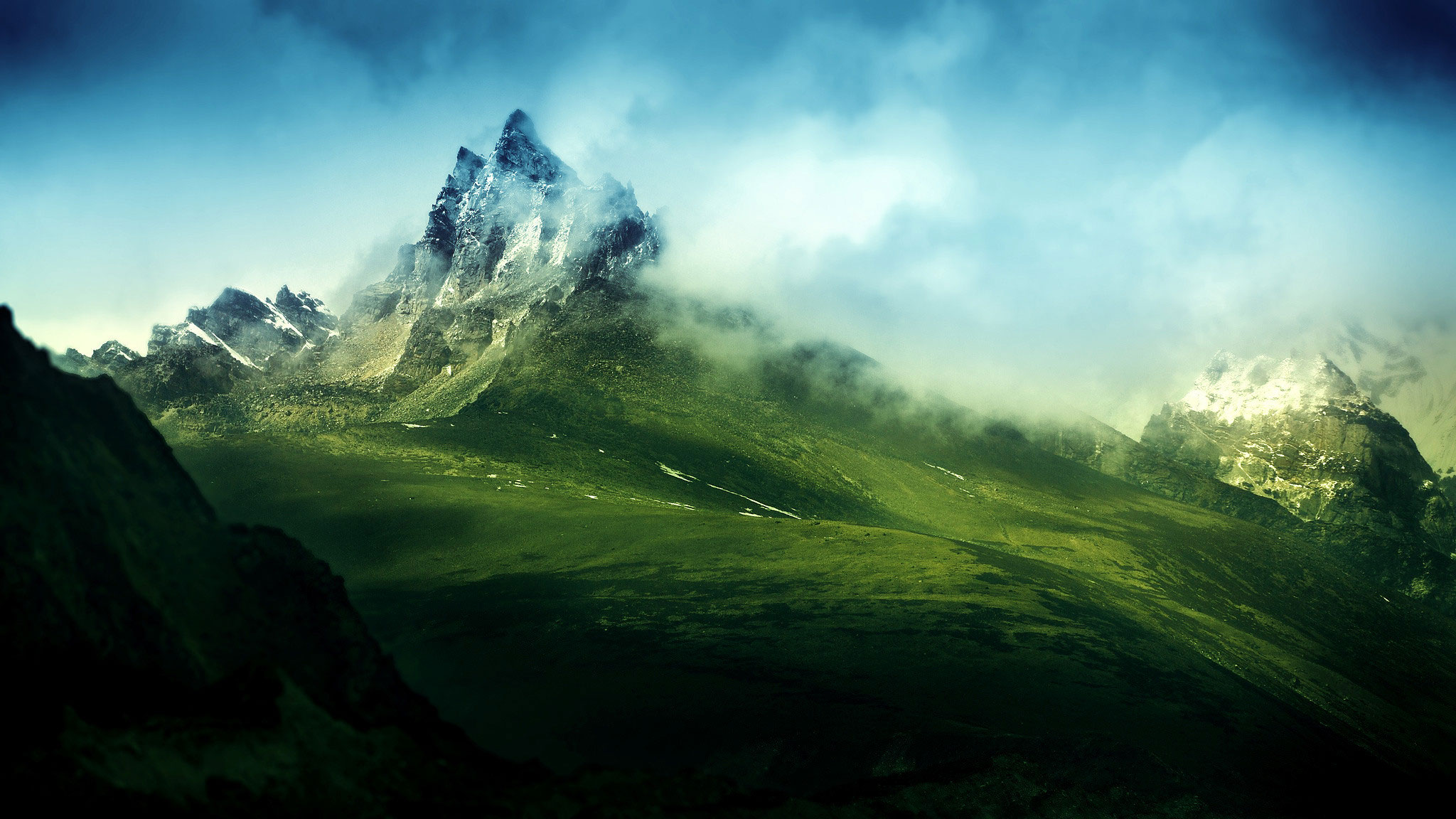 Wallpapers   Green Misty Mountains 2048x1152 wallpaper 2048x1152