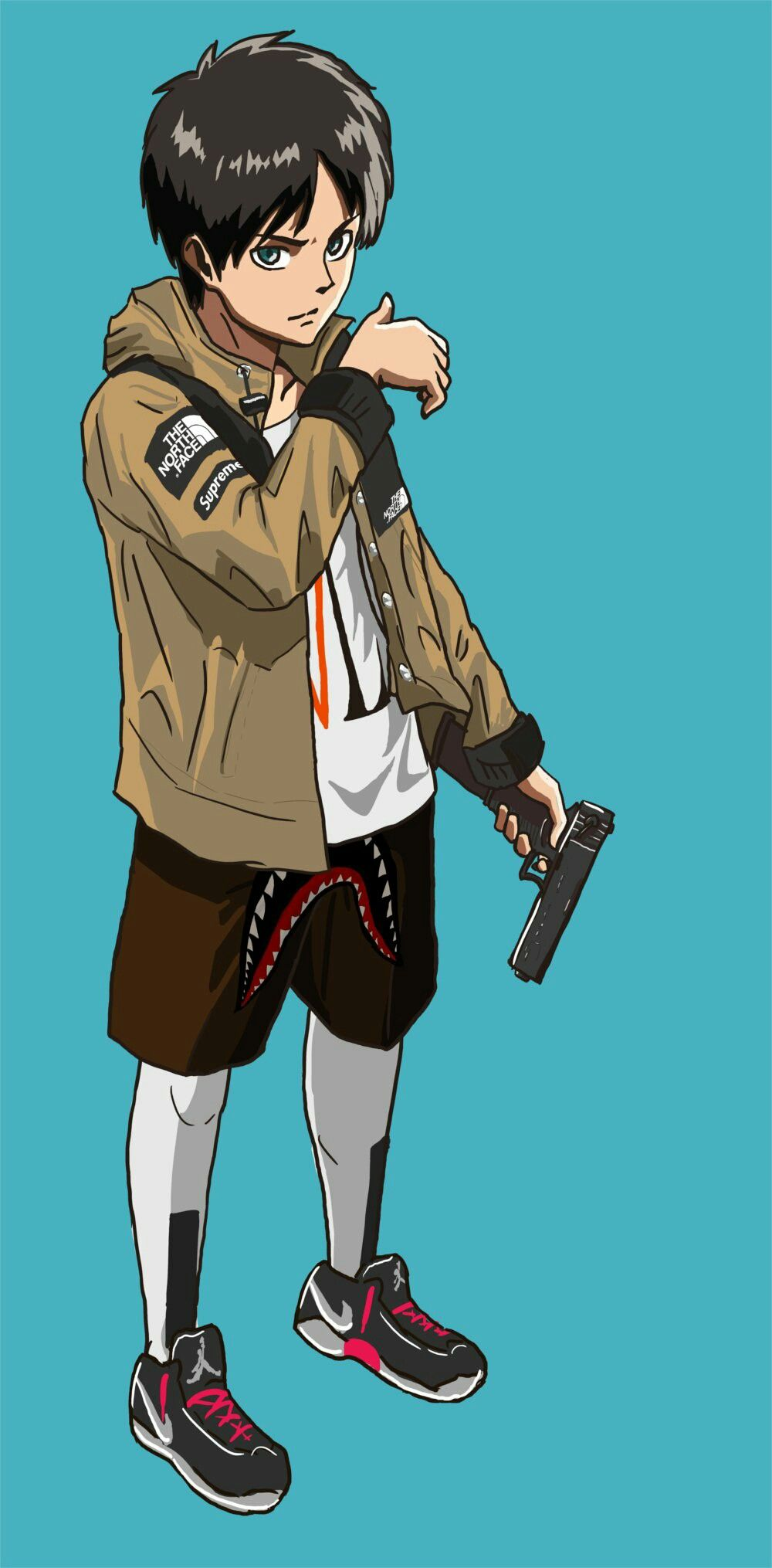 Shingeki no Kyojin Eren x TNF sauce Anime art Anime Dope 1000x2030