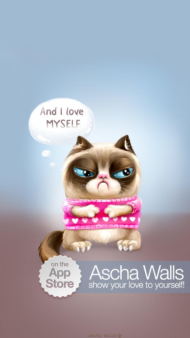 iPhone 5 Grumpy Cat fan art full version of This wallpaper in a 640x1136