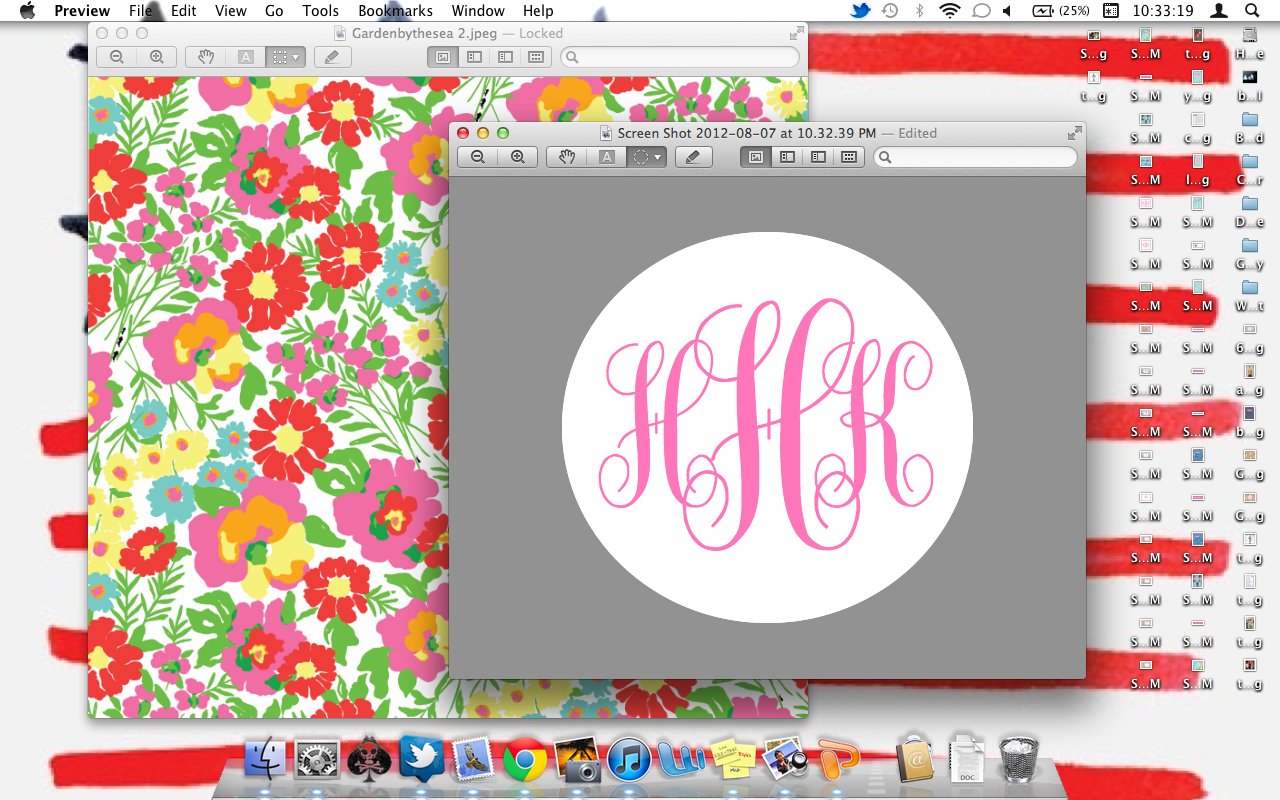 The Pink and Green Prep Monogram Desktop Backgrounds 1280x800