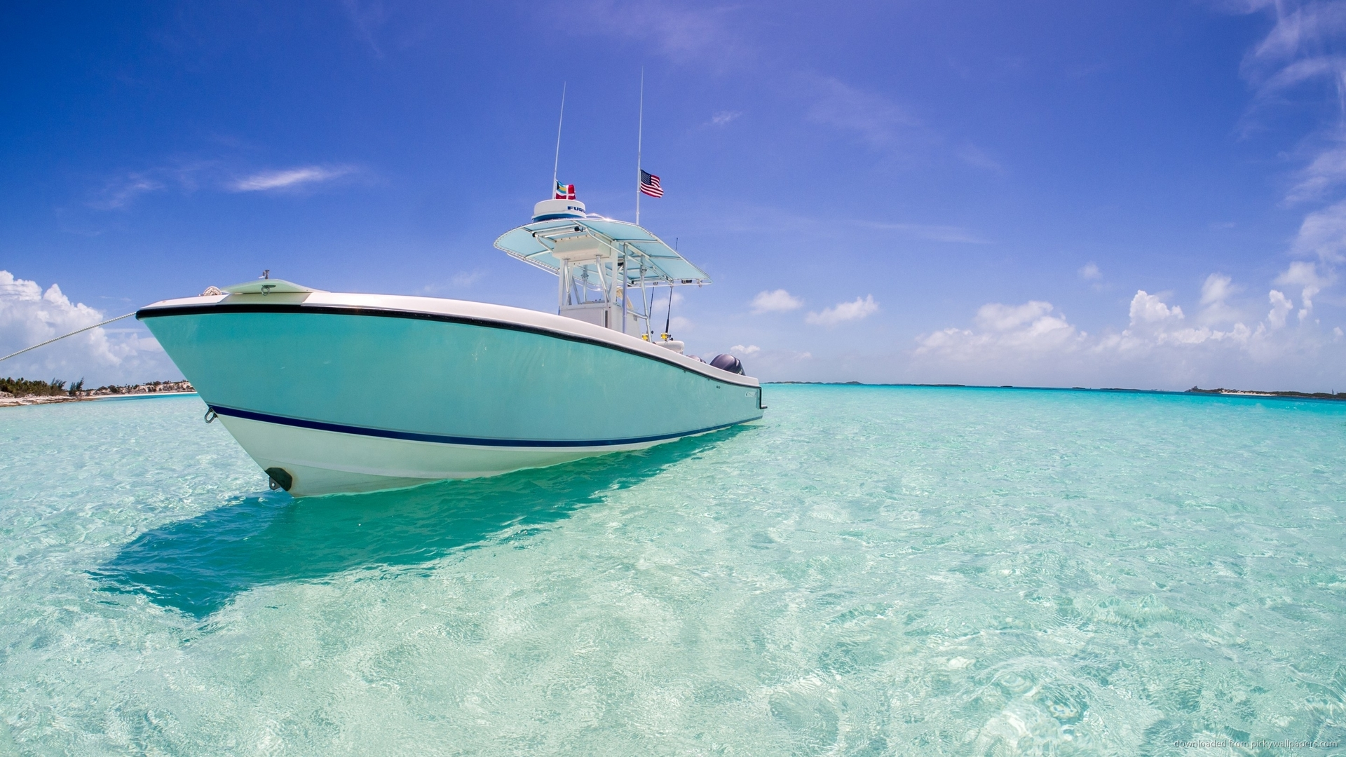 Download 1920x1080 Yacht In Caribbean Sea Wallpaper 1920x1080
