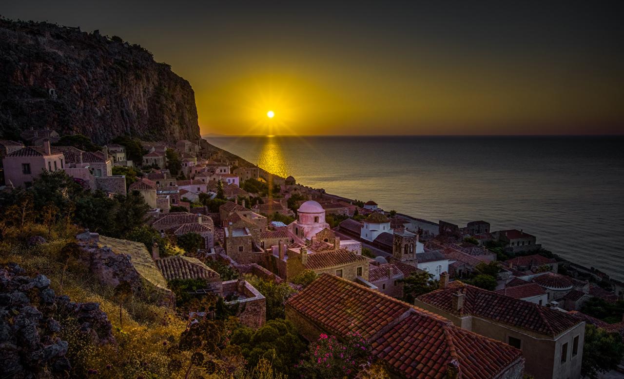 Photos Greece Monemvasia Sun Sea Roof Rock Sunrises and sunsets 1280x777