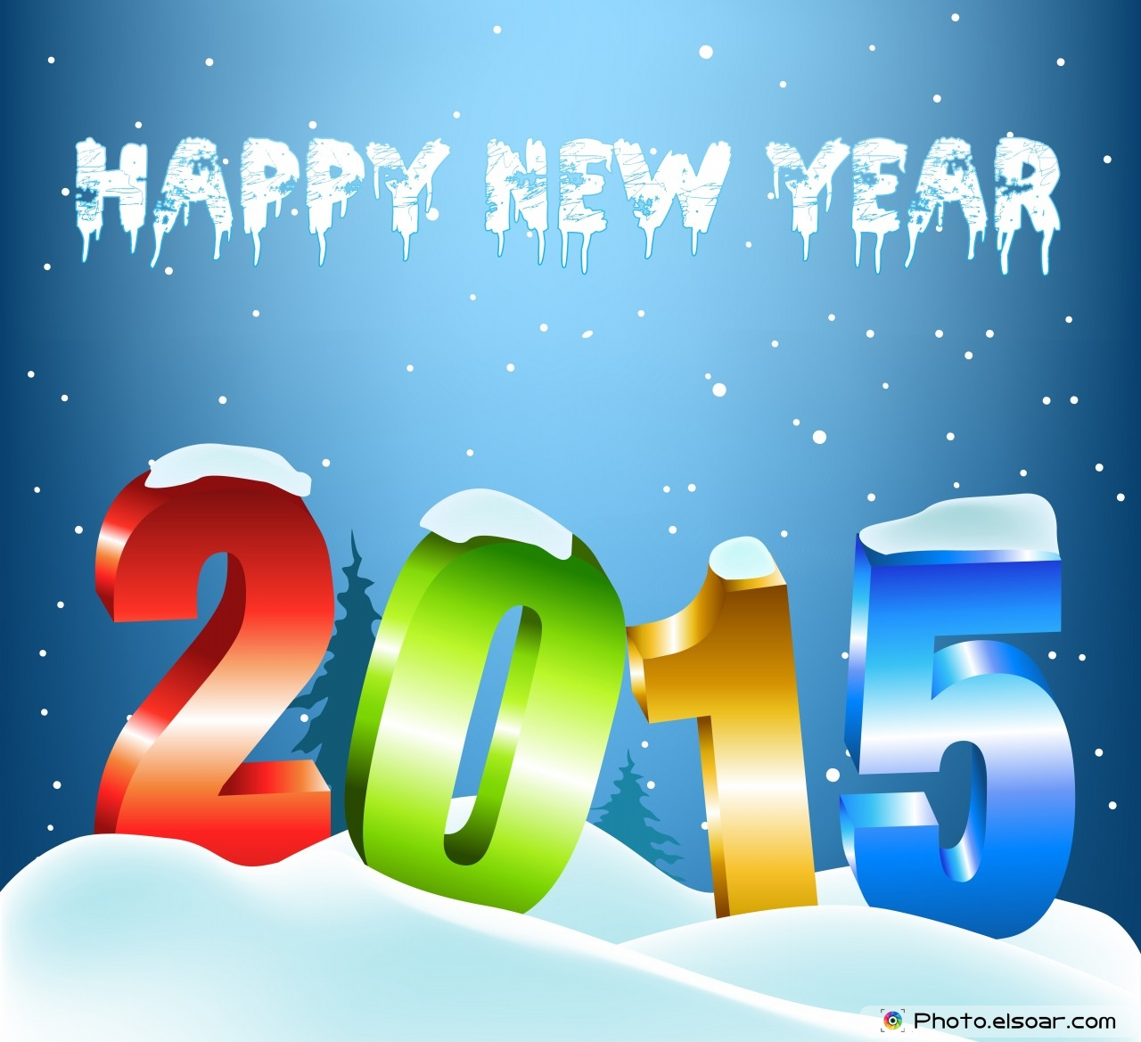 Happy New Year 2015 With Stylish Colorful Text And Snow 1280x1169