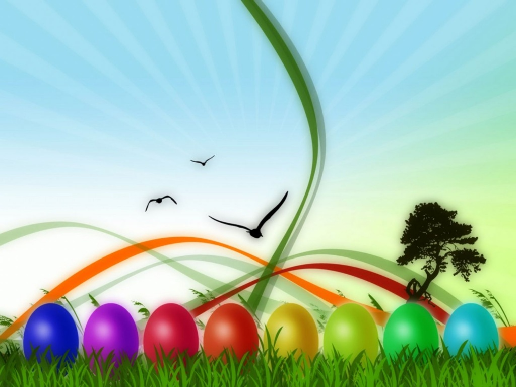 1024x768 Colorful Easter desktop PC and Mac wallpaper 1024x768