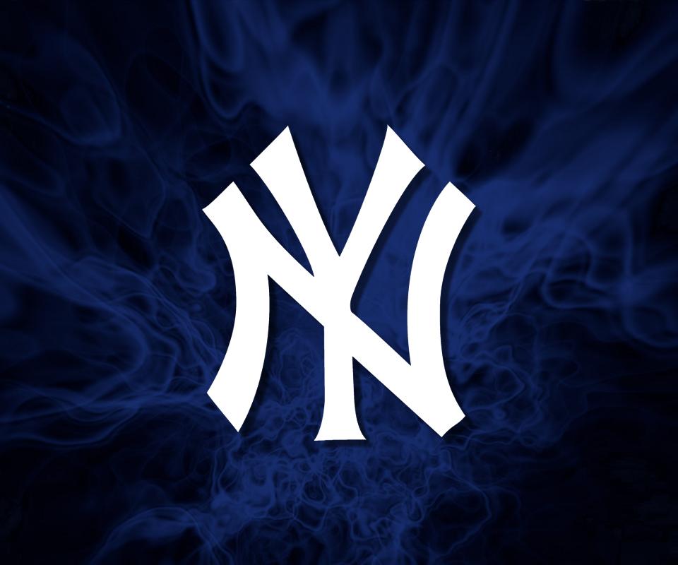 Yankees Logo Wallpaper Black Yankees hat logo in blue 960x800