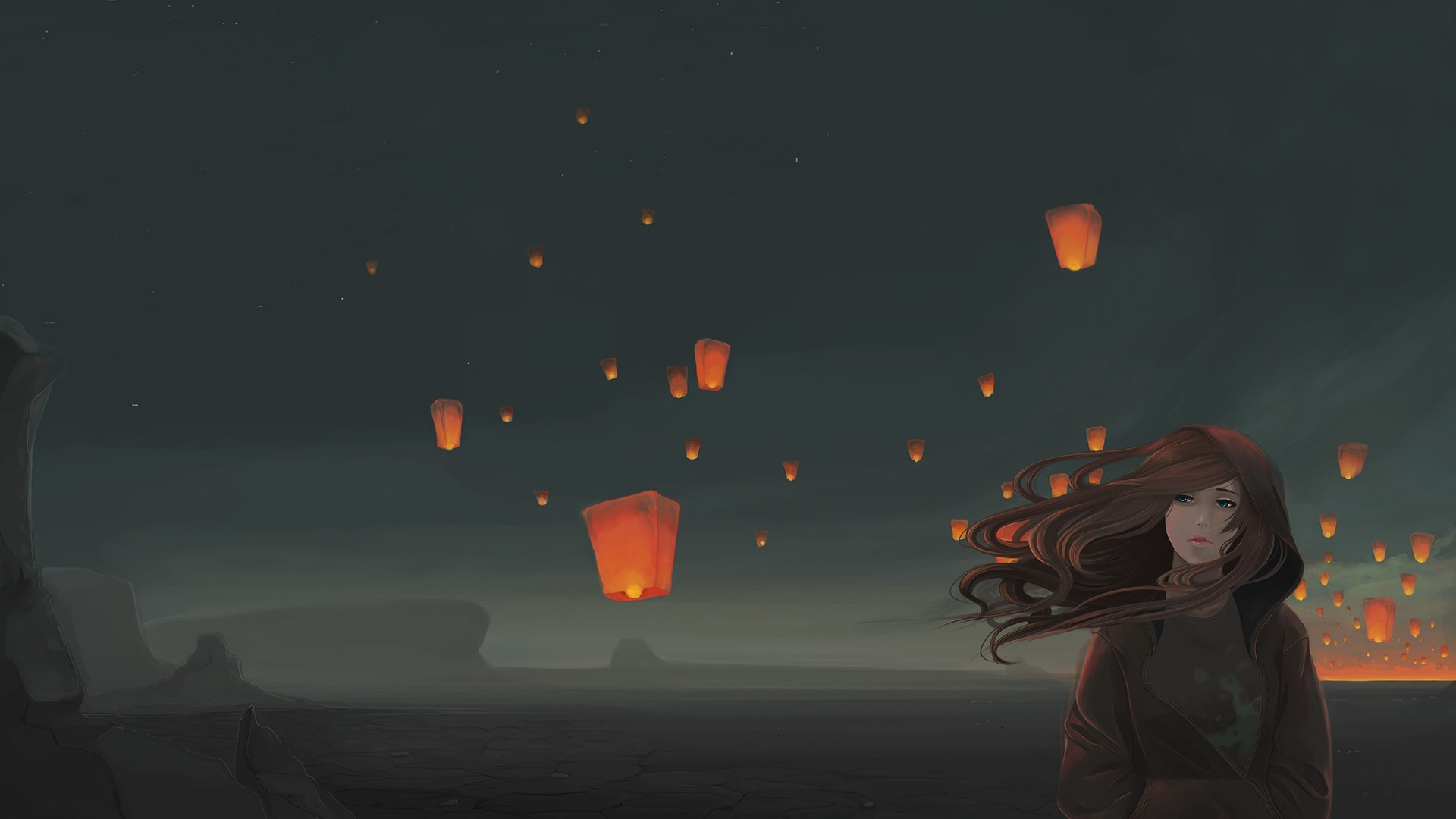 Chinese Lanterns Behind Girls Wallpapers And Images 1920x1080