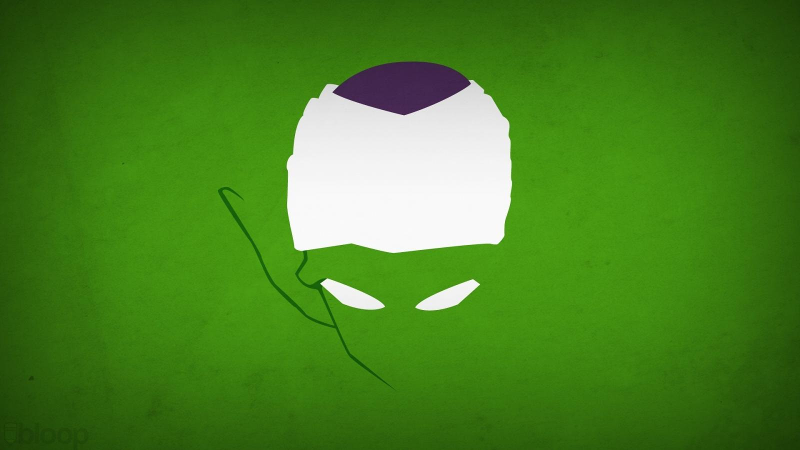 Minimalistic piccolo dragon ball z green background blo0p wallpaper 1600x900