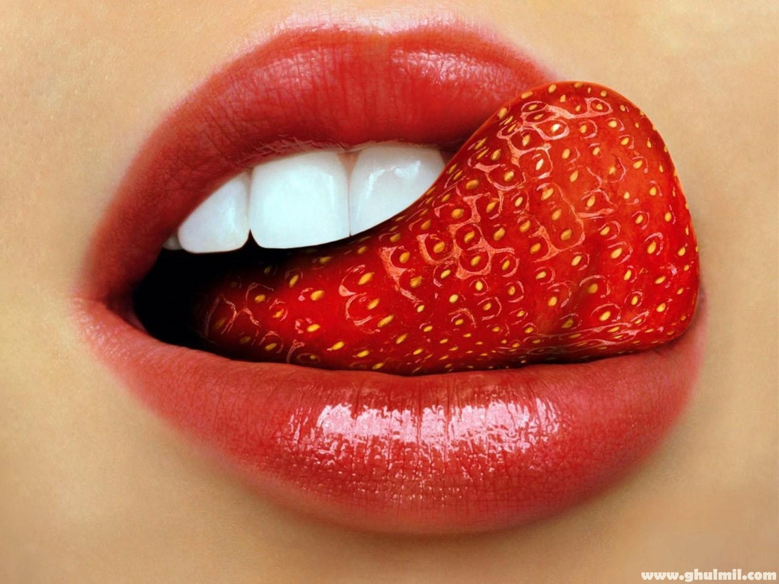 Beautiful Sexy Strawberry Tongue Lips Wallpaper For Desktops Computers 1600x1200
