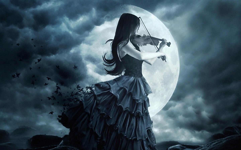 Sombre   Gothique Woman Lune Violon Sombre Musique Fond dcran 1440x900