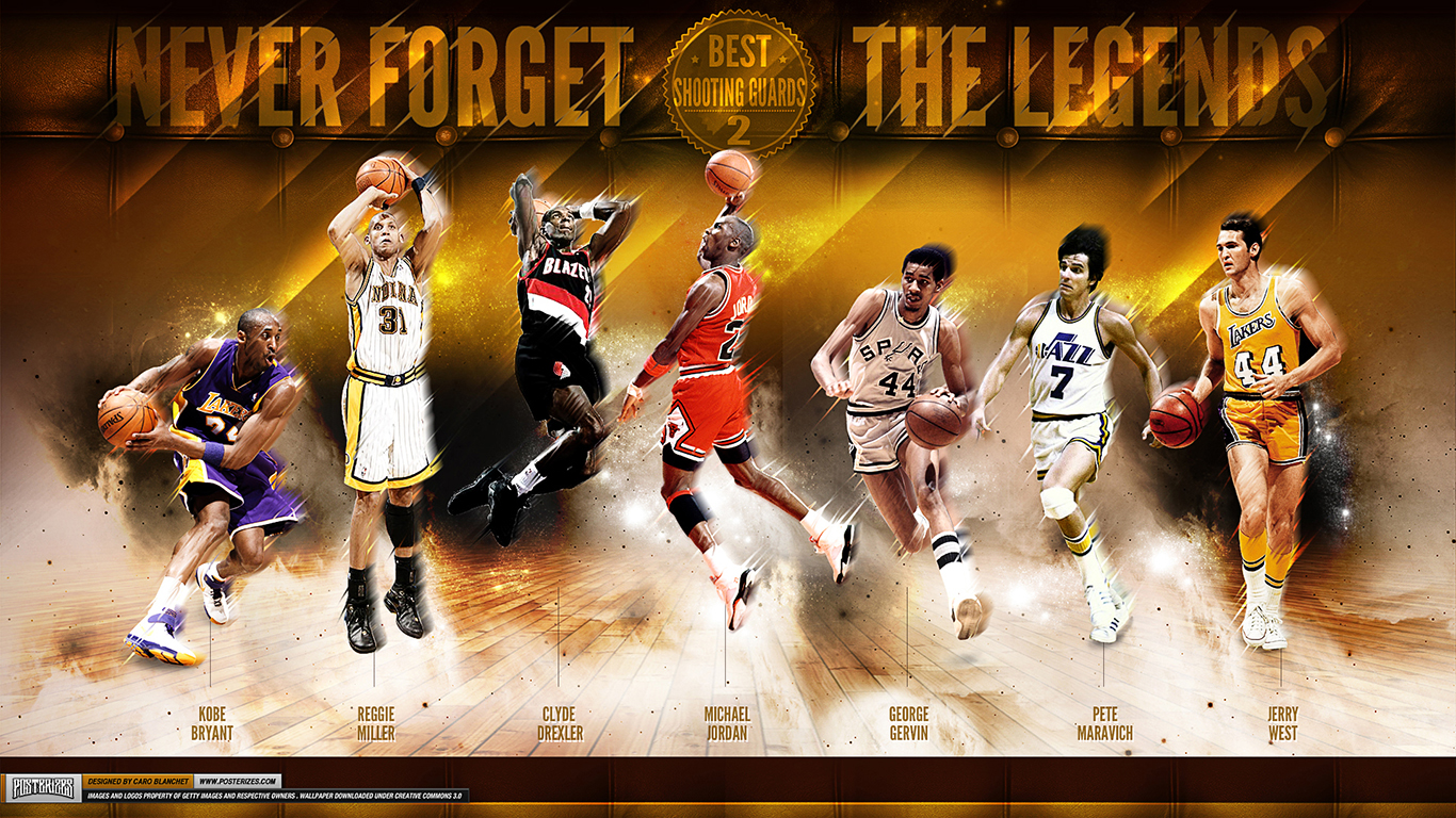 Greatest NBA Shooting Guards of All Time Wallpaper Posterizes 1366x768