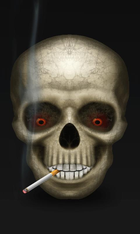 smoking skull live wallpaper has a scary skull smoking cigarette with 480x800
