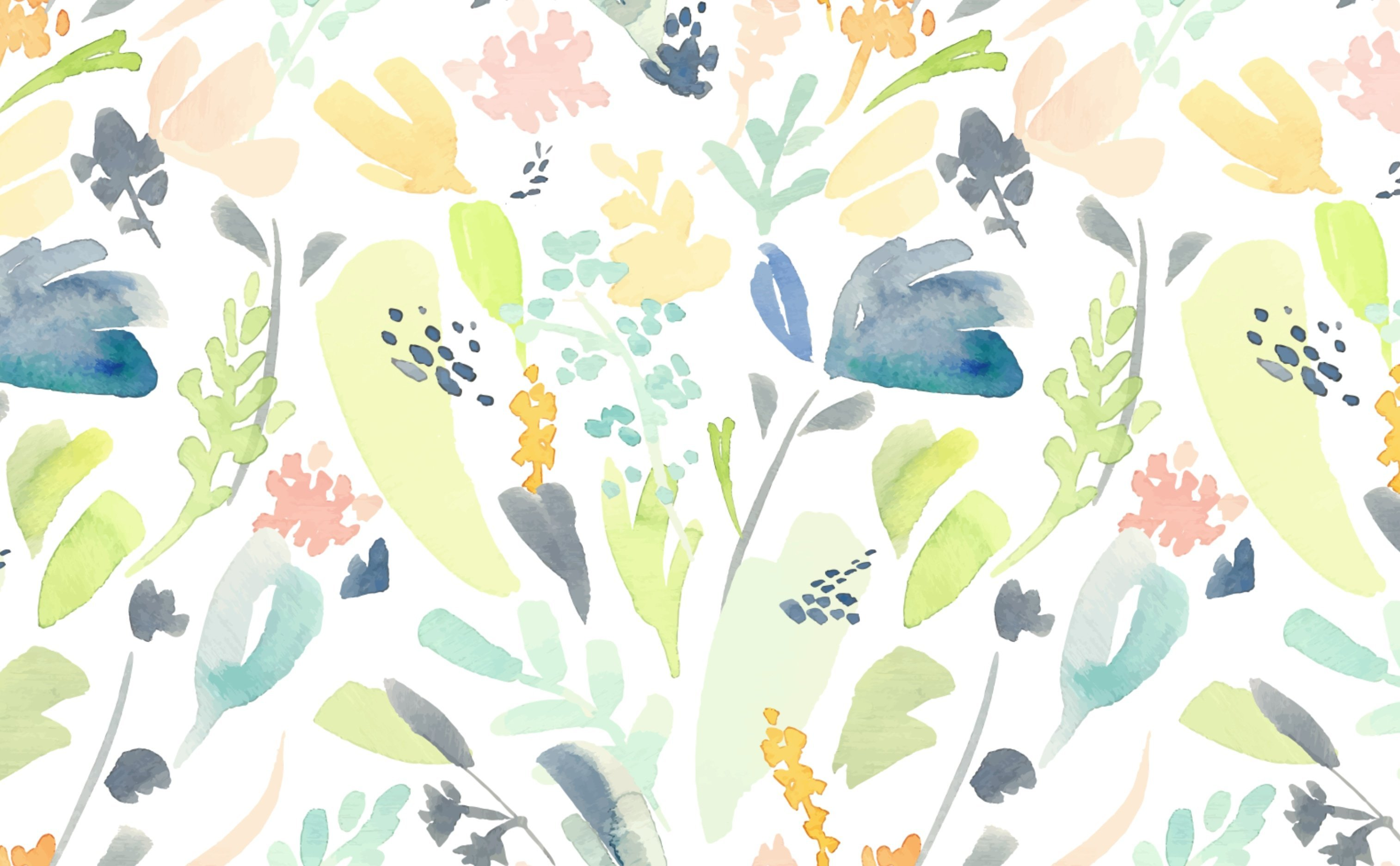 Watercolor Floral Pattern Wallpaper for Walls Pastel Flowers 3028x1872