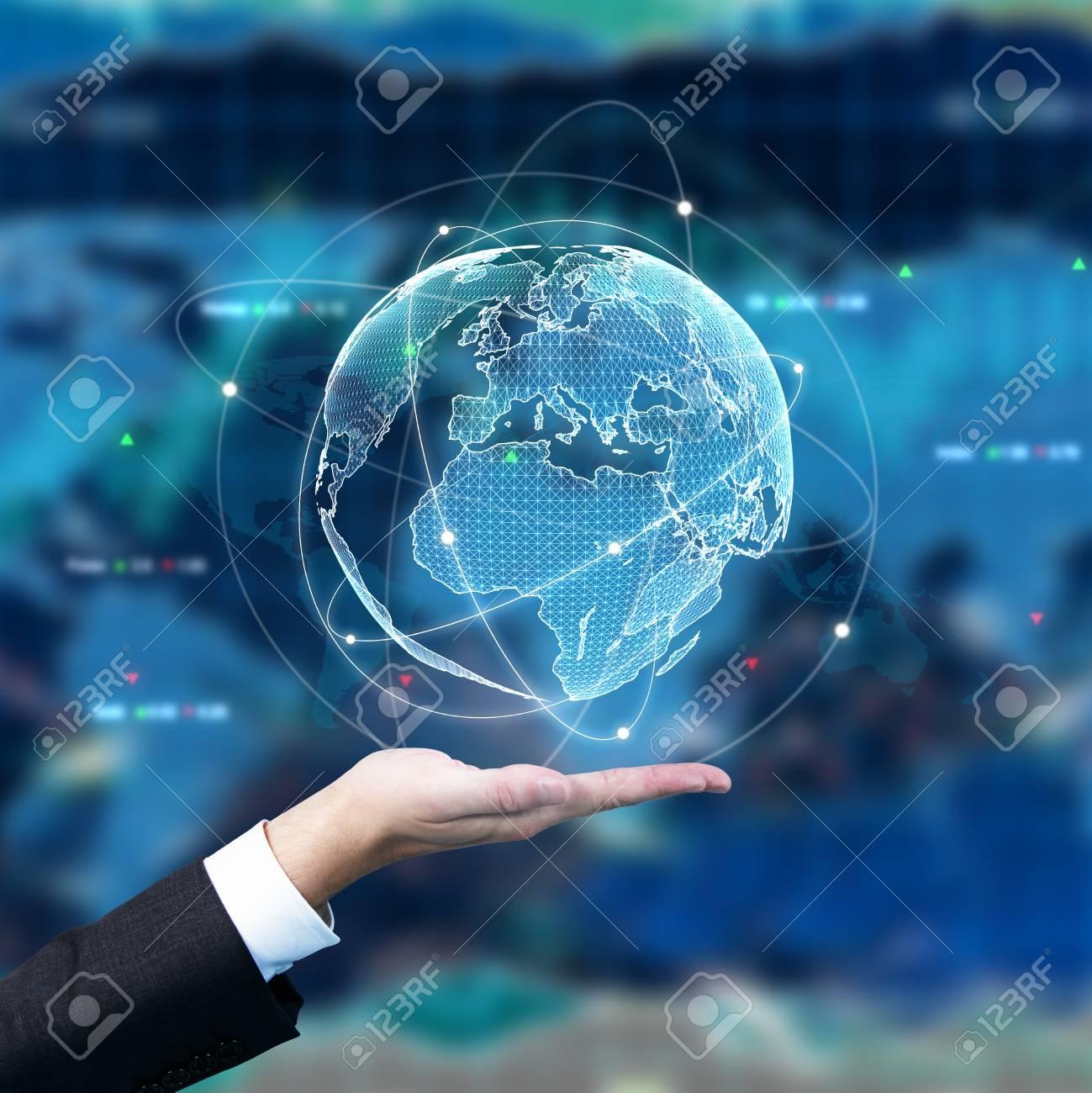 Businessman Holding Digital Globe On Forex Background Trade 1299x1300