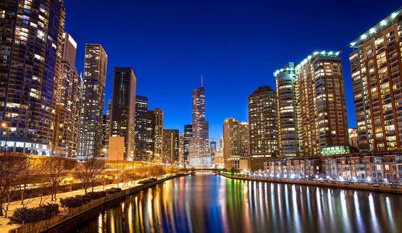 Wallpaper Chicago city USA Canal river Waterfront Skyscrapers Cities 1280x741