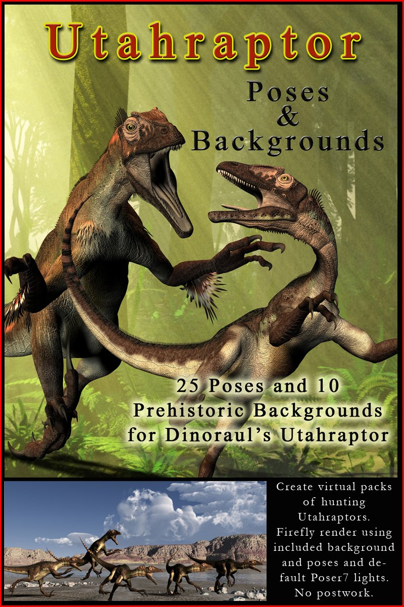 Utahraptor Poses and Prehistoric Backgrounds Poser DAZ Themed 800x1200