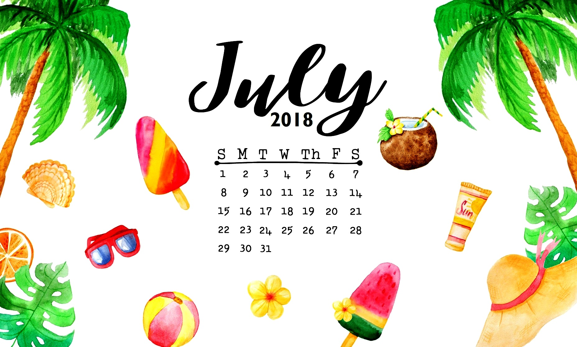 July 2018 Calendar Wallpaper   Best Calendar Printable PDF 1856x1115