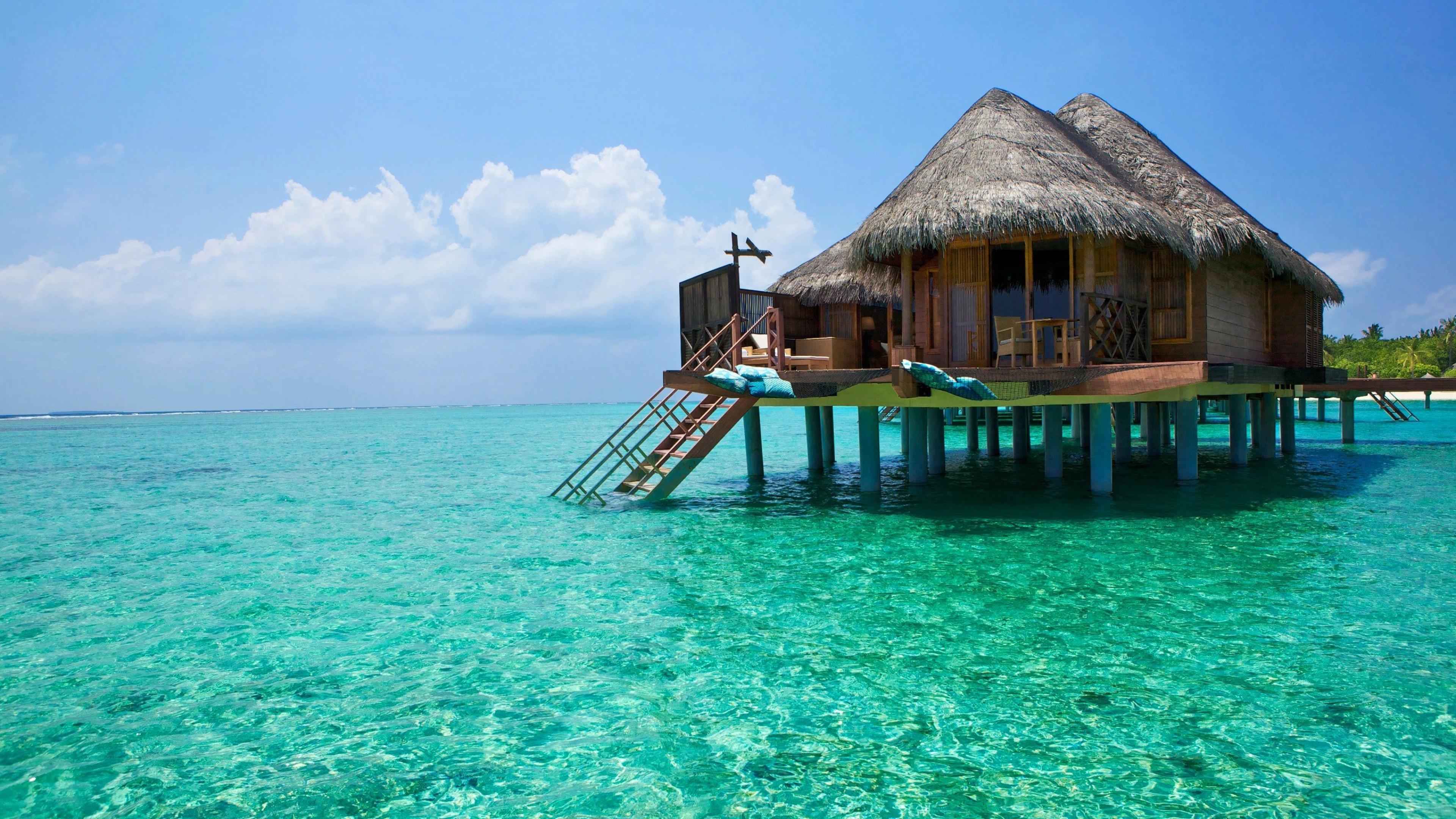 Download Wallpaper 3840x2160 bali island ocean bungalows 4K Ultra 3840x2160