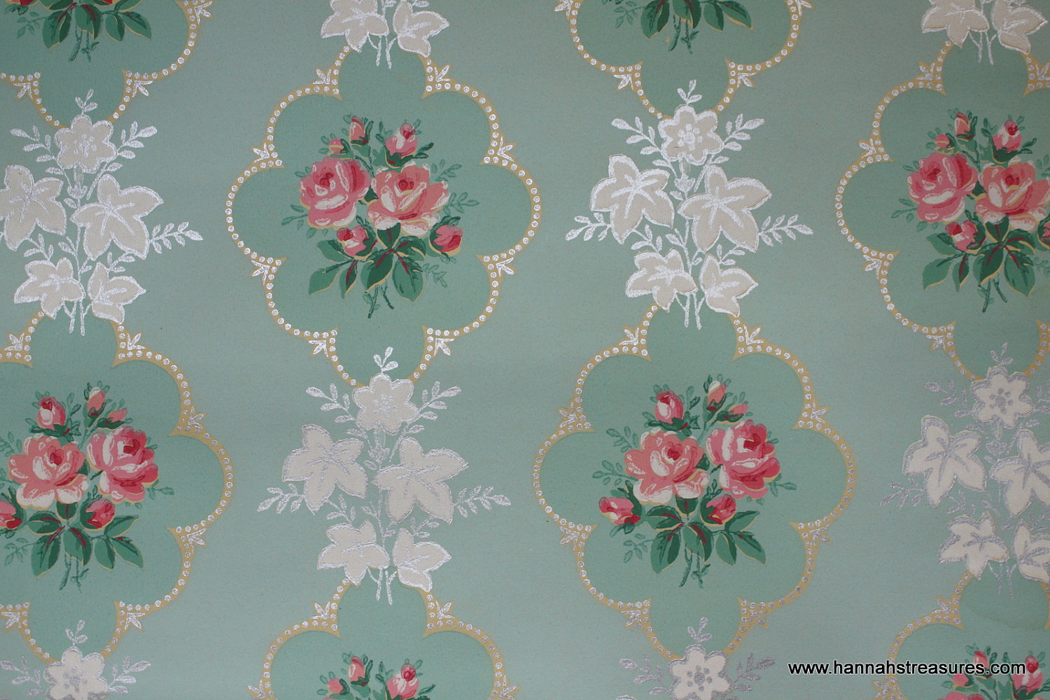 1940s Pink Rose vintage wallpaper on mint by HannahsTreasures 1500x1000