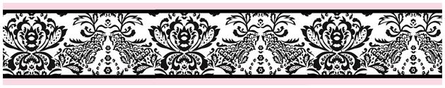 Pink Black White Damask Pattern Wallpaper Border 630x125