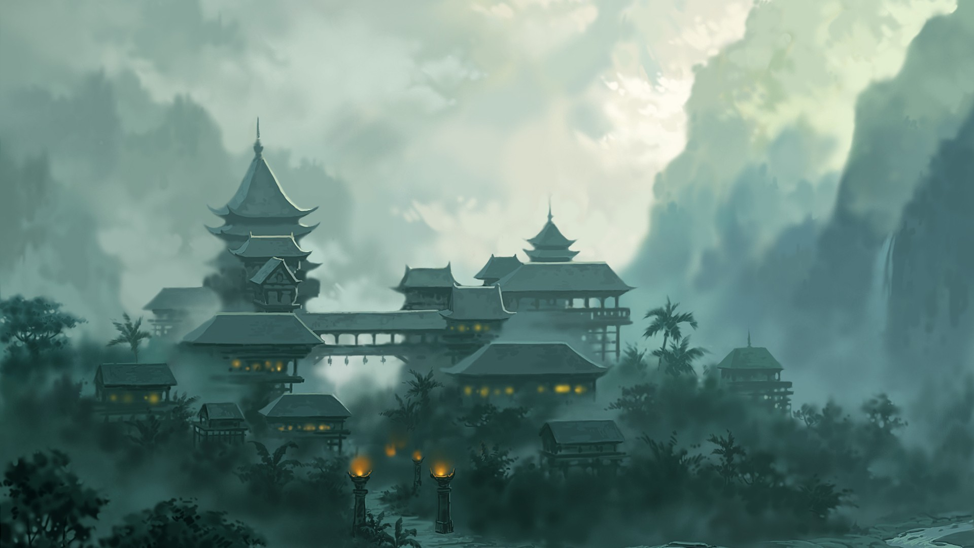 buildings landscapes mountains jungle clouds fog wallpaper background 1920x1080