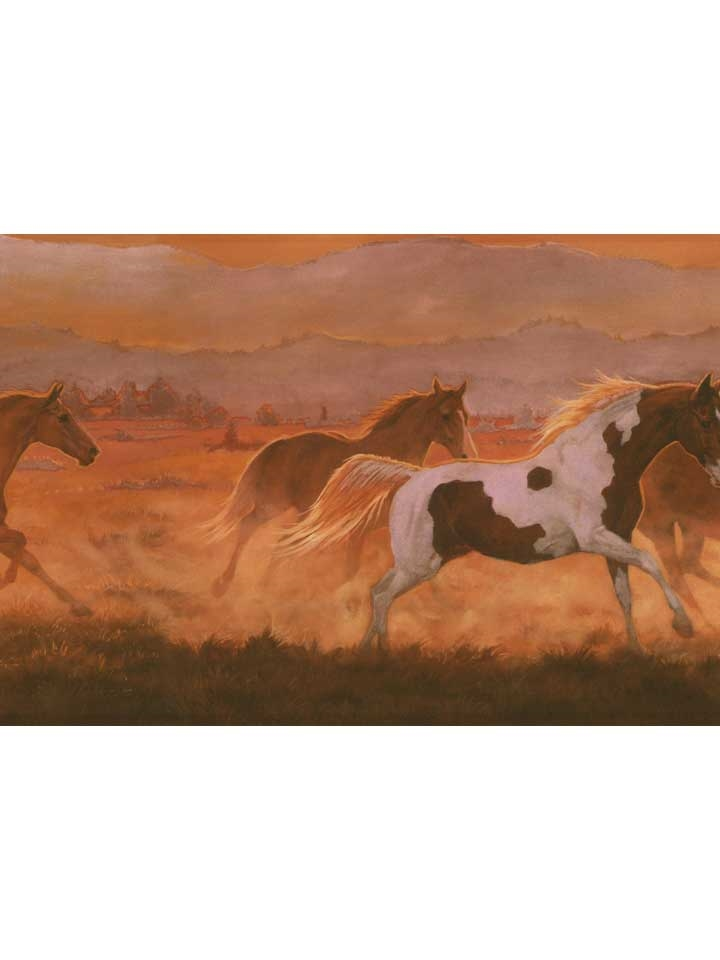 Wild Horses Sunset Wallpaper Border IN2632B ranch western decor 720x960