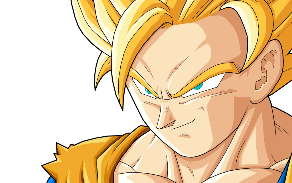 Goku as a Super Saiyan 2 before ascending to Super Saiyan 3 during the 1024x640