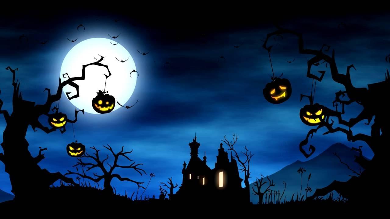 4K Cartoon Video Background Halloween Yard Background Animation 1280x720
