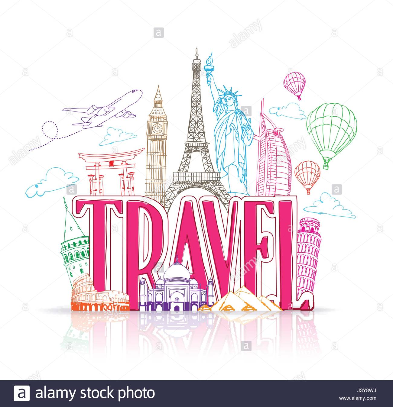 Travel Title Vector Background of Line Drawing of Famous Landmarks 1300x1347