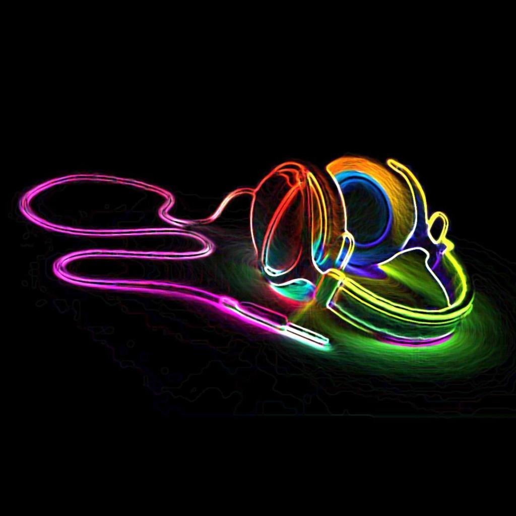 Wallpapers Neon headphones   Music iPad iPad 2 iPad mini Wallpapers 1024x1024