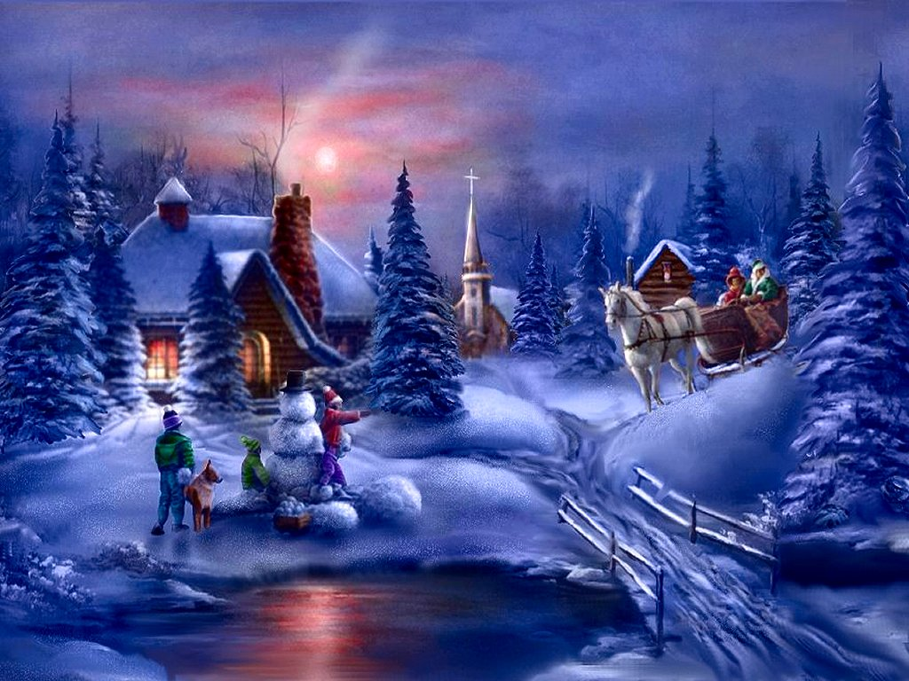 Winter Moments   christmas wallpaper 1024x768