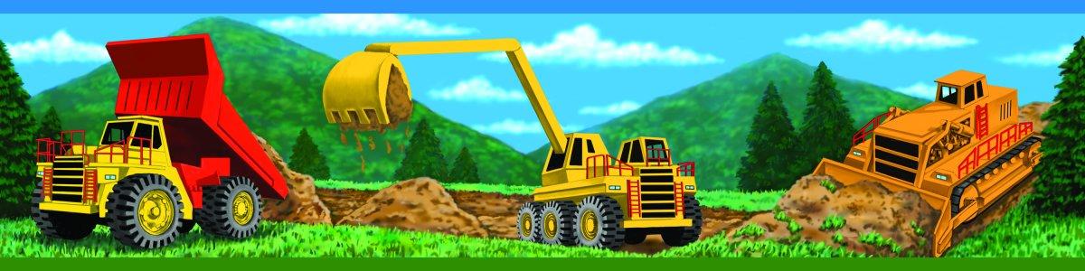 Kids Construction Trucks Wallpaper Border for Boys 1200x300