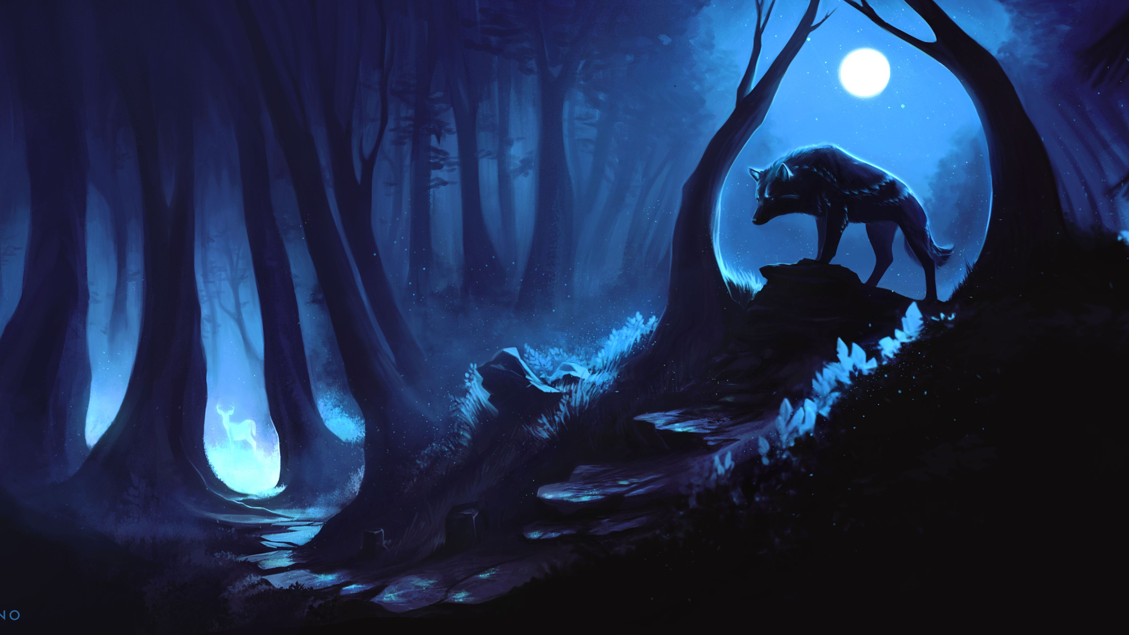 Wolf Hunting Prey 4k wolf wallpapers hd wallpapers digital art 3840x2160
