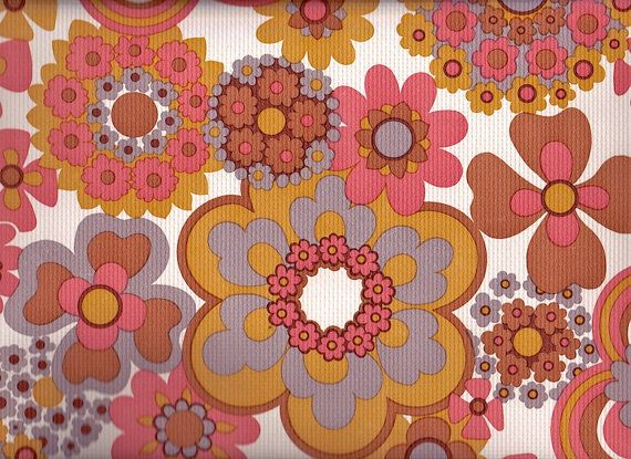 Vintage 1970s Wallpaper   Salmon Flowers   Price per yard 570x415