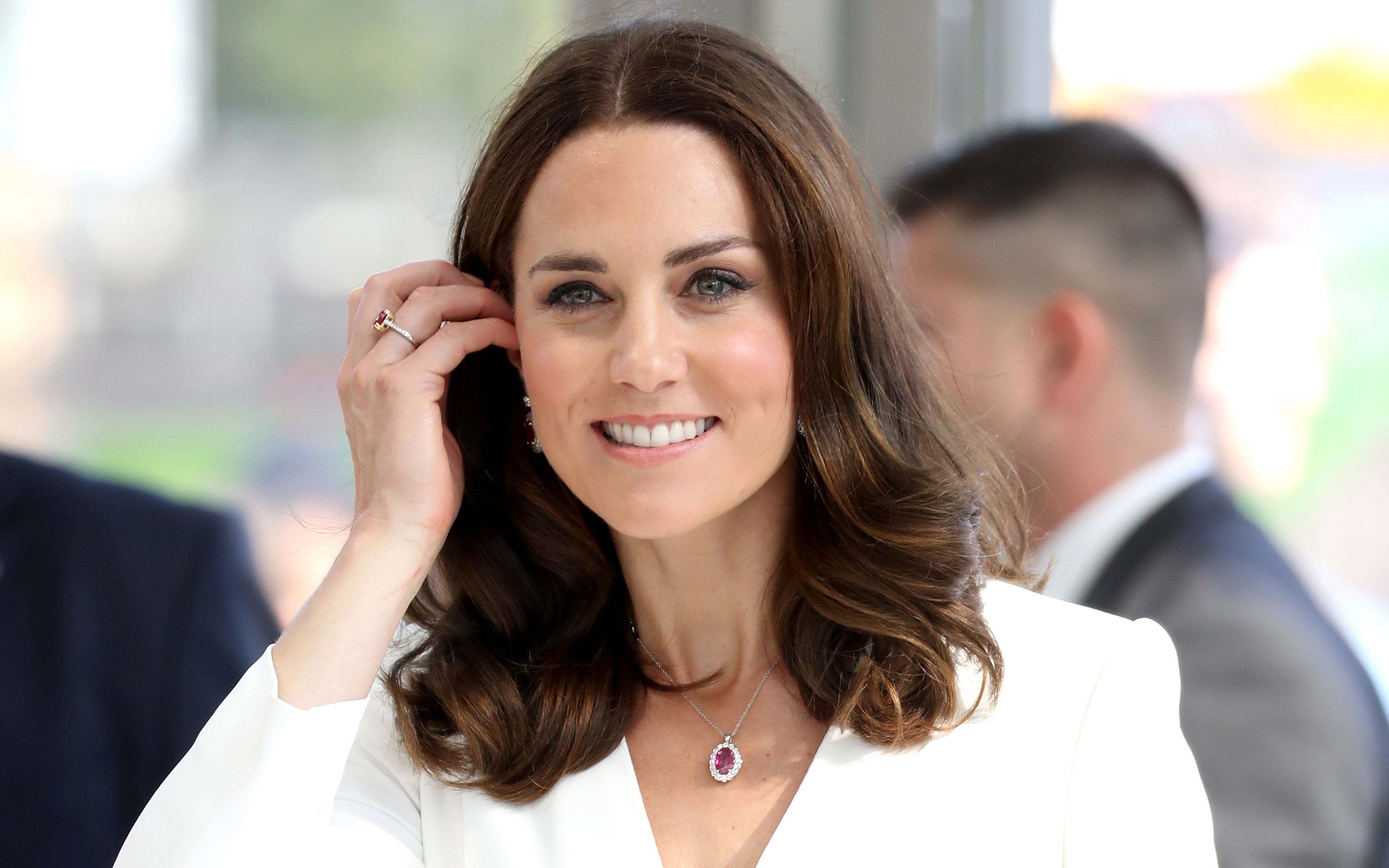 Download wallpapers Kate Middleton smile portrait 4k UK 3840x2400