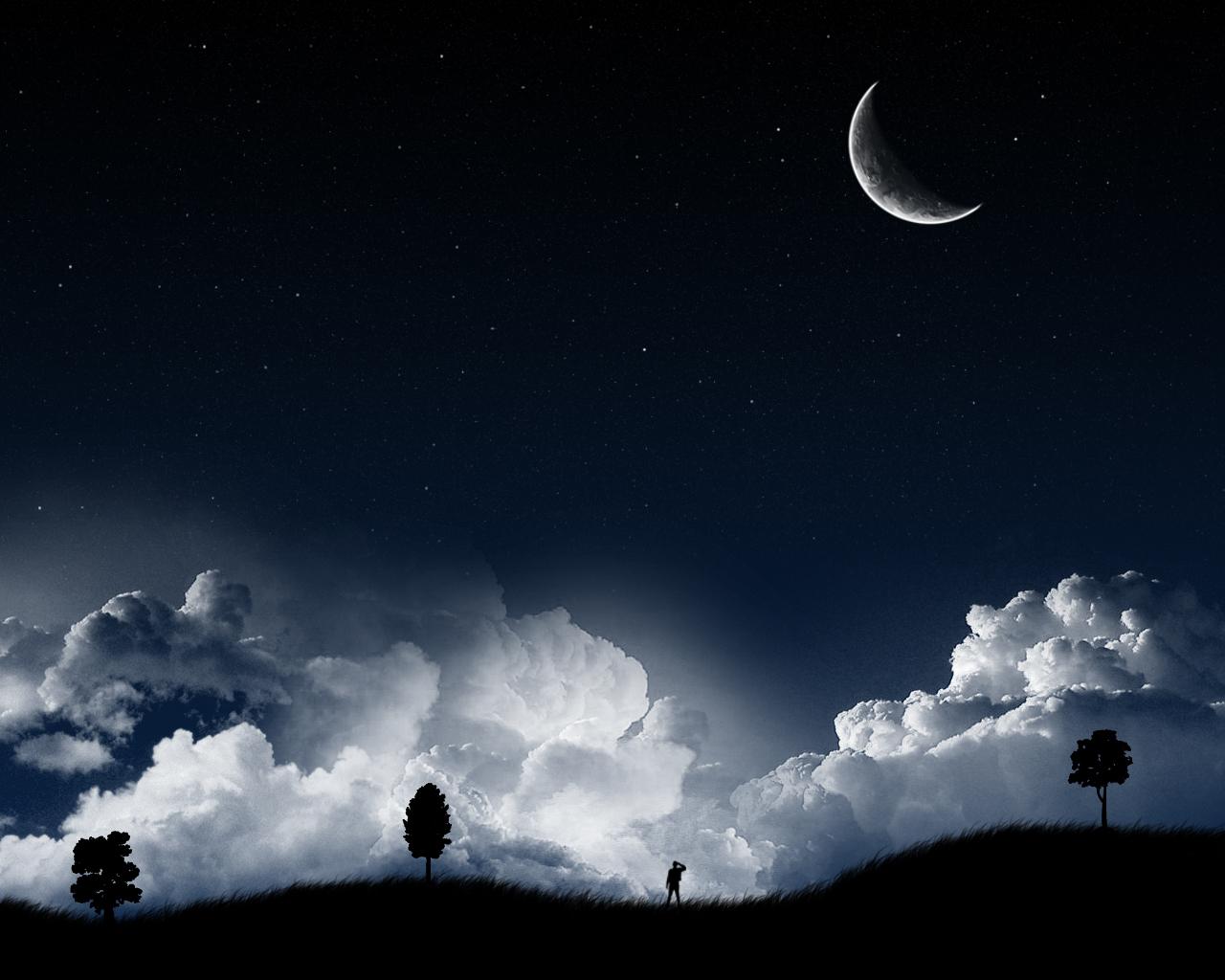 Dark Starry Night Vector Wallpaper 1280x1024