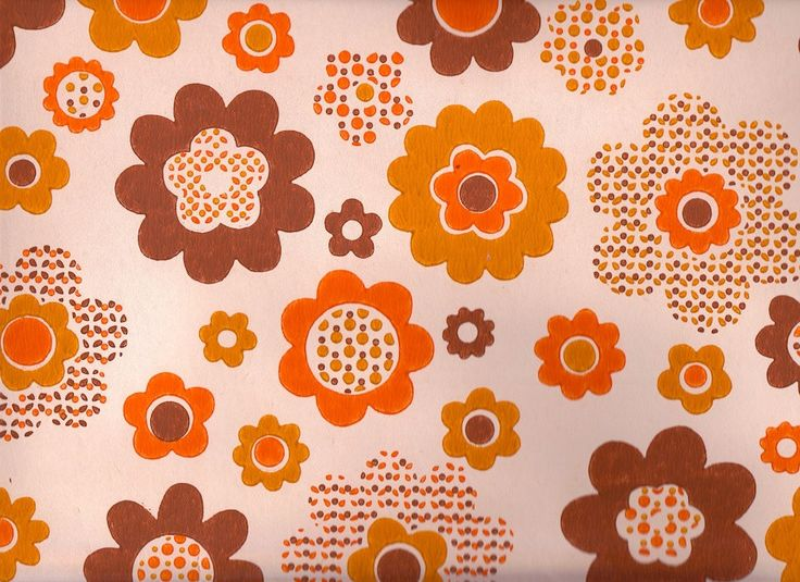 Vintage 1970s Orange Funky Flower Wallpaper price is per Yard 1400 736x535