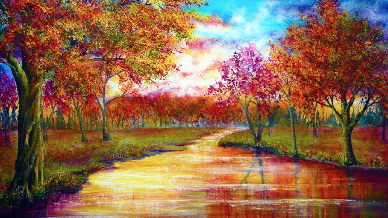 Trees september rivers vibrant colors wallpaper 26395 1280x720