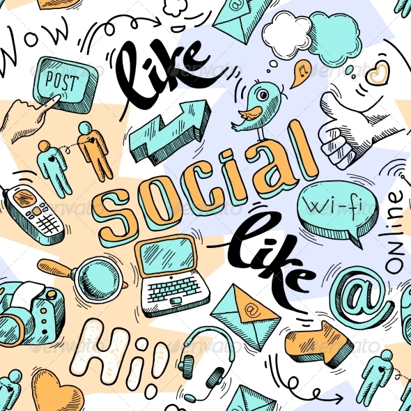 Seamless Doodle Social Media Pattern Background Backgrounds Download 590x590