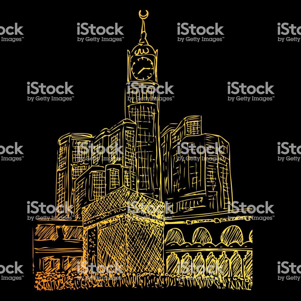Golden Manual Sketch Of Kaaba In Mecca Saudi Arabia At Black 1024x1024