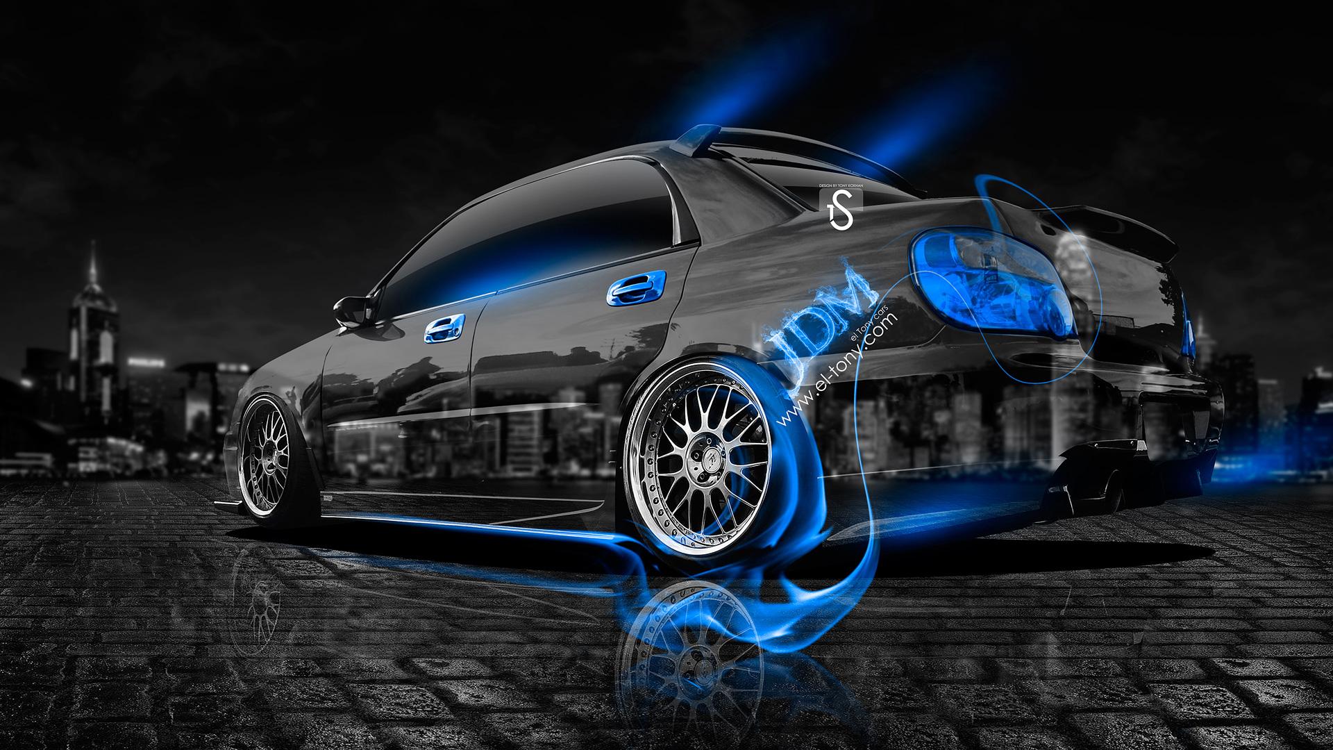 Subaru impreza wrx sti jdm blue fire crystal