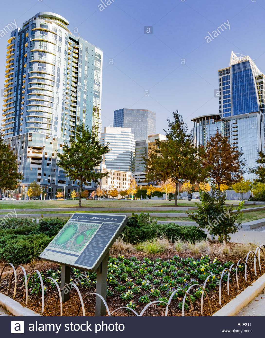 CHARLOTTE NC USA 112118 Romare Bearden Park with skyscrapers 1089x1390