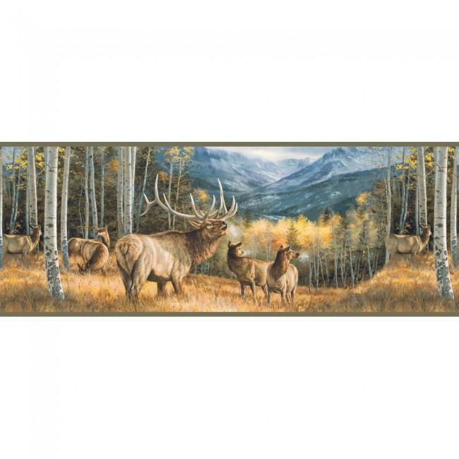 Lake Forest Lodge Elk Border   Wildlife Cabin Decor Wallpaper 650x650