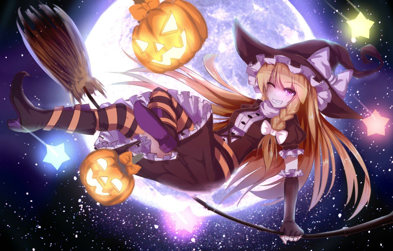 Wallpaper the sky girl stars holiday the moon hat anime art 1332x850