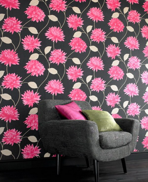 Home Interior Design With Black And Pink Fl Wallpaper