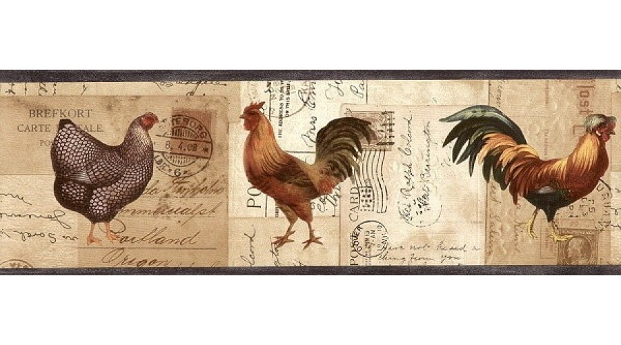 Home Charcoal Rooster Stamp Wallpaper Border 900x500